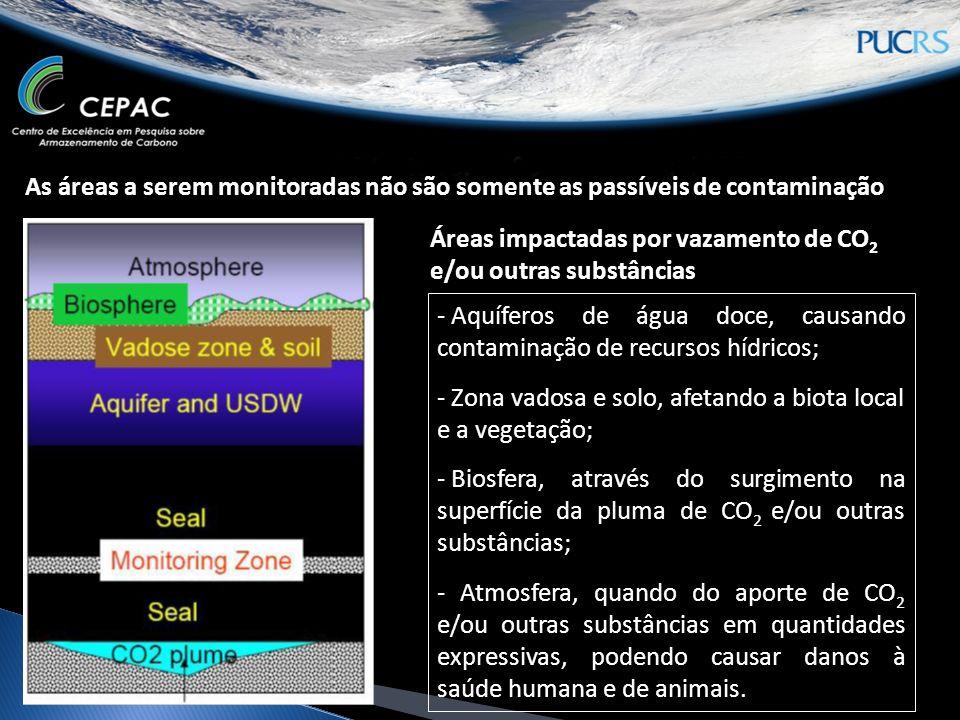 Áreas monitoradas - Pluma de injeção (reservatório): Não detectará pequenos vazamentos; - Selo e zona acima da injeção: Primeiro indicador.