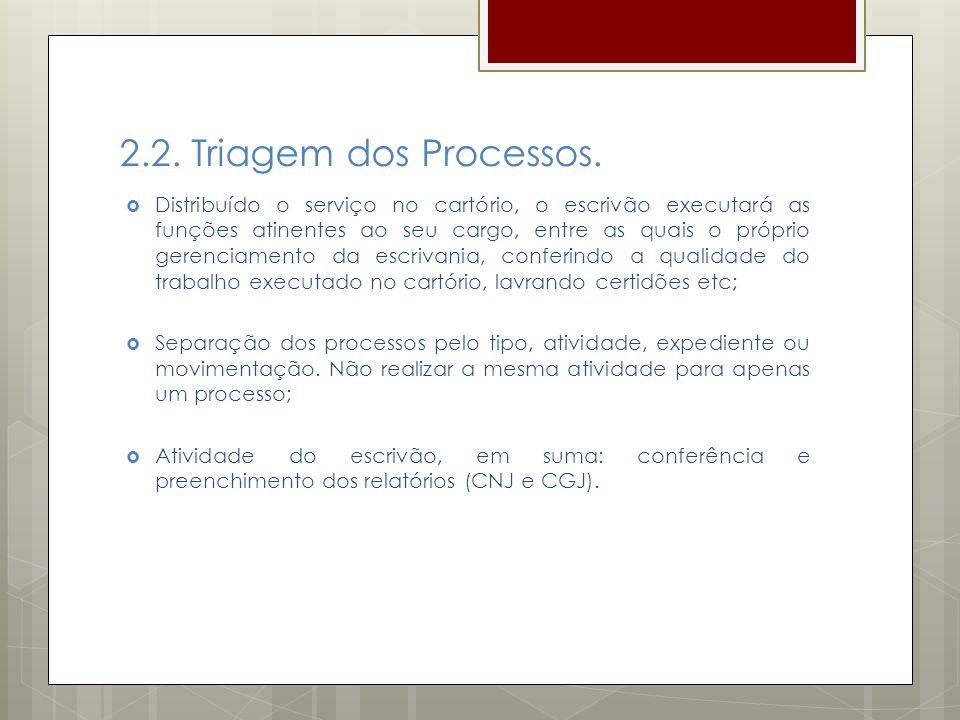 2.2. Triagem dos Processos. Distribuído o serviço no cartório, o escrivão executará as funções atinentes ao seu cargo, entre as quais o próprio gerenc