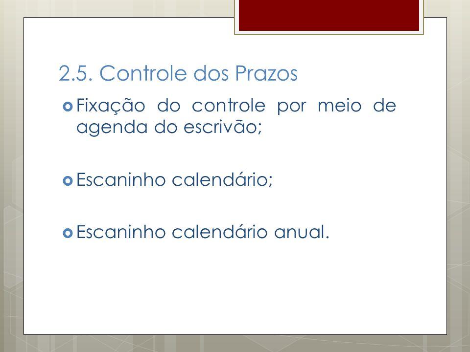 2.5. Controle dos Prazos Fixação do controle por meio de agenda do escrivão; Escaninho calendário; Escaninho calendário anual.