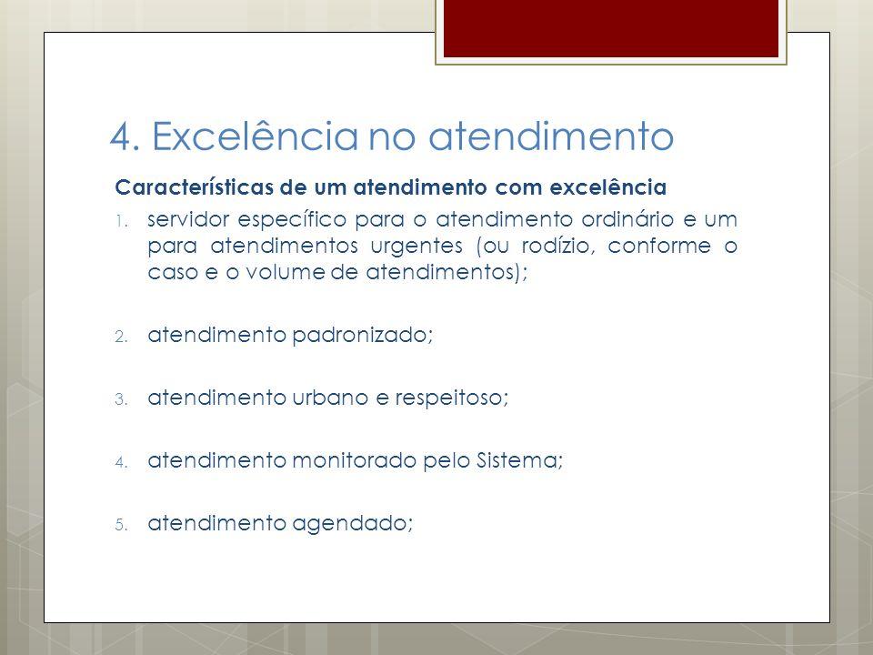 4. Excelência no atendimento Características de um atendimento com excelência 1. servidor específico para o atendimento ordinário e um para atendiment