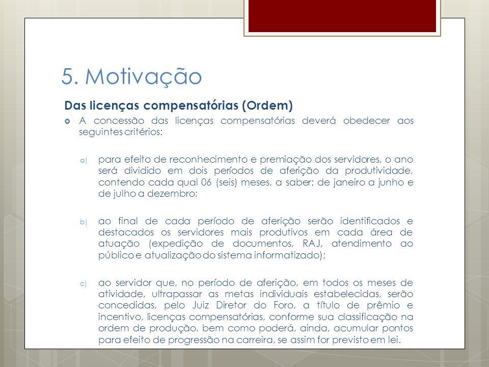 5. Motivação Das licenças compensatórias (Ordem) A concessão das licenças compensatórias deverá obedecer aos seguintes critérios: a) para efeito de re