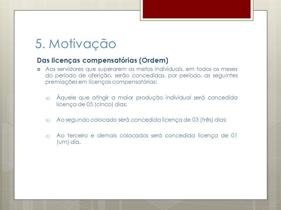 5. Motivação Das licenças compensatórias (Ordem) Aos servidores que superarem as metas individuais, em todos os meses do período de aferição, serão co