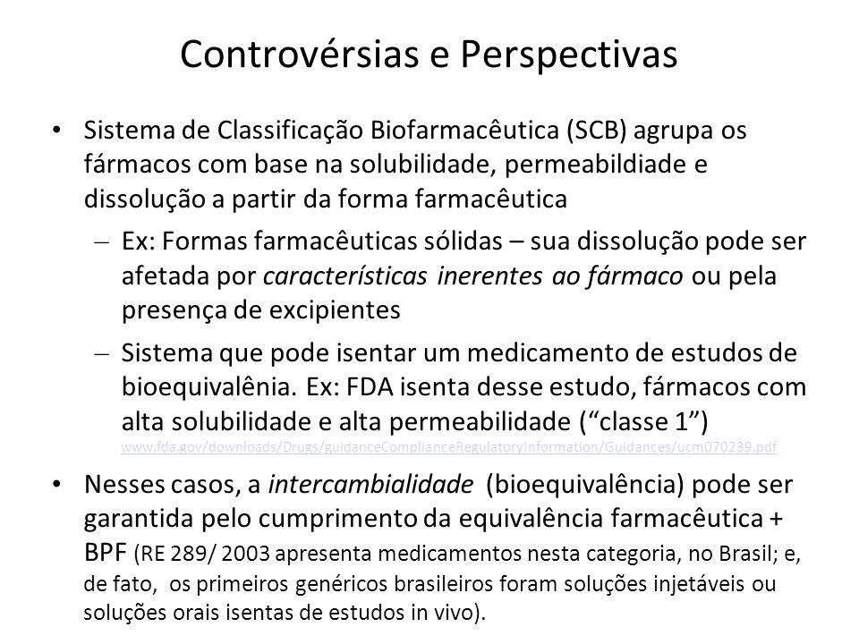 Controvérsias e Perspectivas Sistema de Classificação Biofarmacêutica (SCB) agrupa os fármacos com base na solubilidade, permeabildiade e dissolução a
