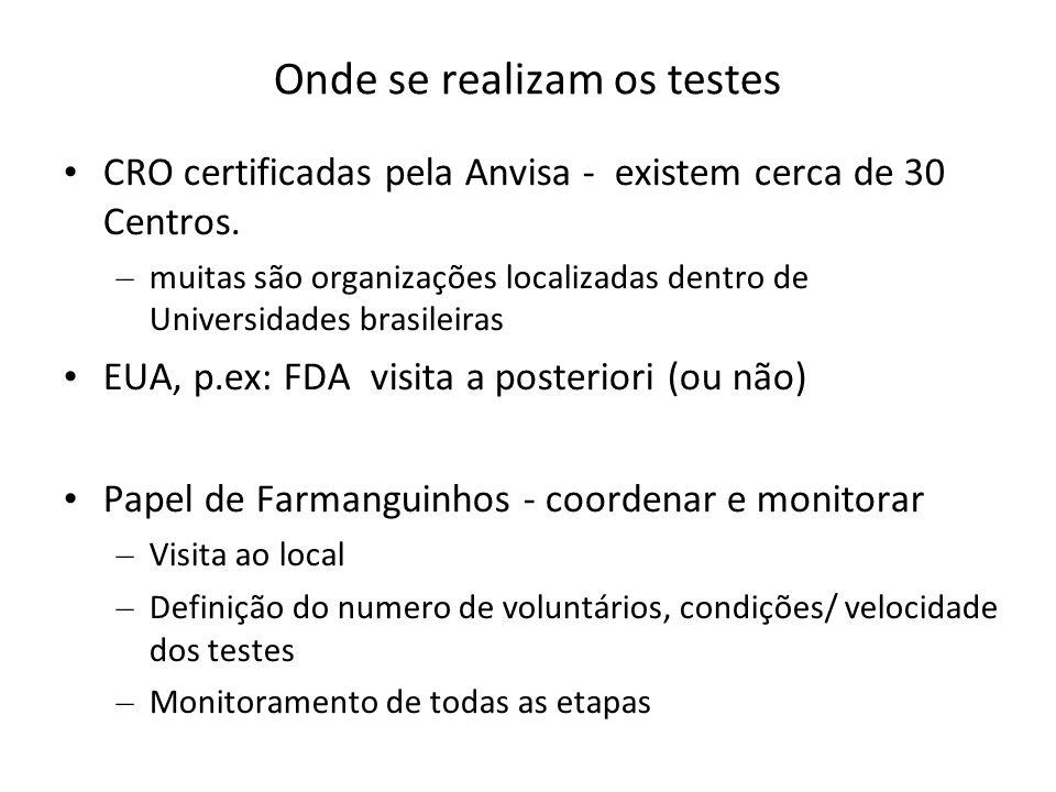 Onde se realizam os testes CRO certificadas pela Anvisa - existem cerca de 30 Centros. – muitas são organizações localizadas dentro de Universidades b