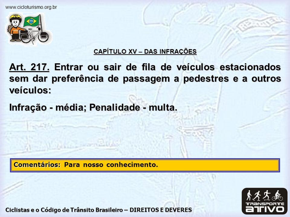 Ciclistas e o Código de Trânsito Brasileiro – DIREITOS E DEVERES www.cicloturismo.org.br CAPÍTULO XV – DAS INFRAÇÕES Art. 217. Entrar ou sair de fila