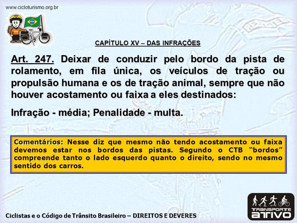 Ciclistas e o Código de Trânsito Brasileiro – DIREITOS E DEVERES www.cicloturismo.org.br CAPÍTULO XV – DAS INFRAÇÕES Art. 247. Deixar de conduzir pelo