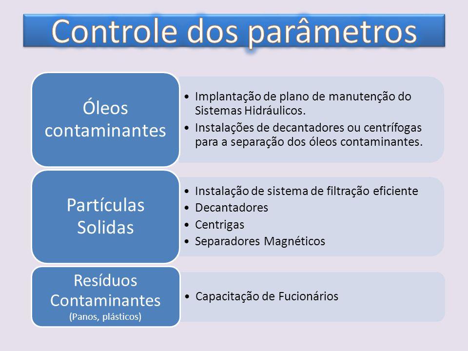 Implantação de plano de manutenção do Sistemas Hidráulicos. Instalações de decantadores ou centrífogas para a separação dos óleos contaminantes. Óleos