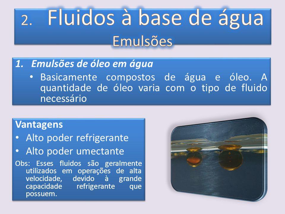 1.Emulsões de óleo em água Basicamente compostos de água e óleo. A quantidade de óleo varia com o tipo de fluido necessário 1.Emulsões de óleo em água