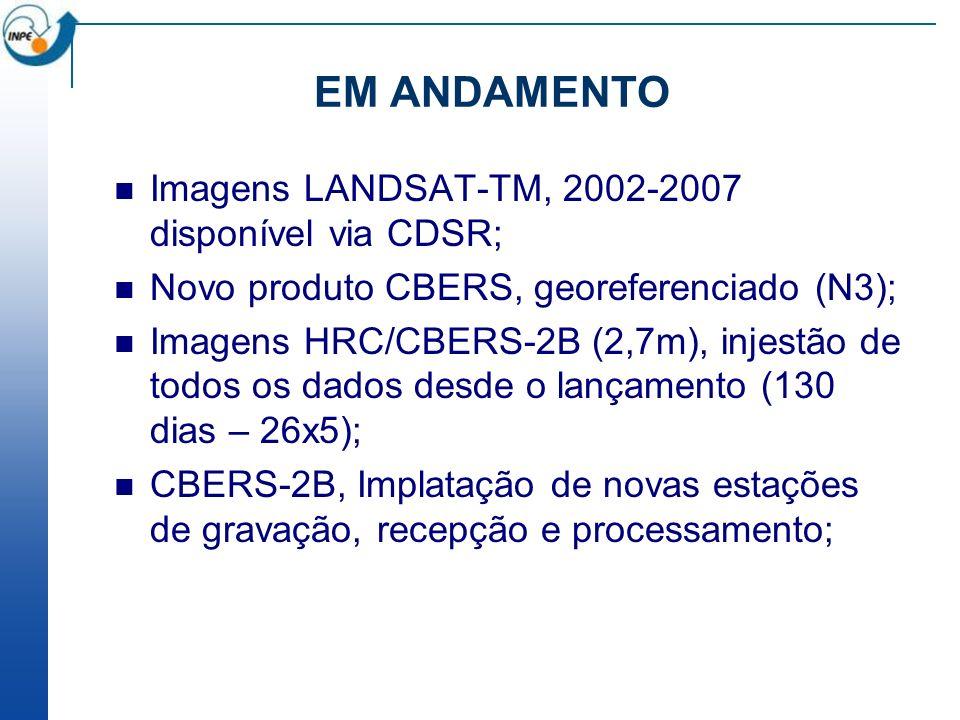 EM ANDAMENTO Imagens LANDSAT-TM, 2002-2007 disponível via CDSR; Novo produto CBERS, georeferenciado (N3); Imagens HRC/CBERS-2B (2,7m), injestão de todos os dados desde o lançamento (130 dias – 26x5); CBERS-2B, Implatação de novas estações de gravação, recepção e processamento;