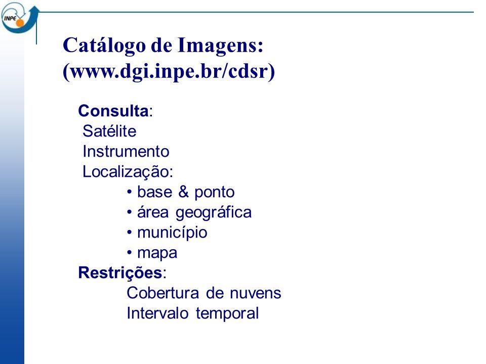 Catálogo de Imagens: (www.dgi.inpe.br/cdsr) Consulta: Satélite Instrumento Localização: base & ponto área geográfica município mapa Restrições: Cobertura de nuvens Intervalo temporal