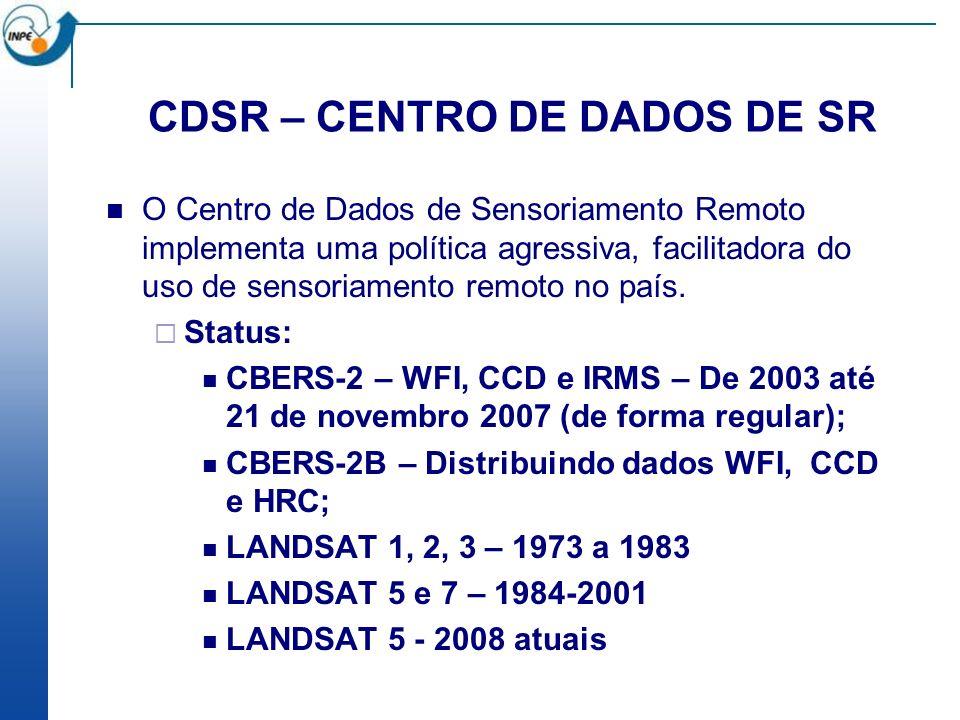 CDSR – CENTRO DE DADOS DE SR DESCRIÇÃO DO PROJETO Orçamento: 2002-2004 - R$ 2.090.000,00 (FINEP R$ 1.300.000,00 e INPE - R$ 790.000,00) 2005-2006 - R$ 700.000,00 INPE Expansão do Centro de Dados, de 45TB para 140TB e para 280TB.