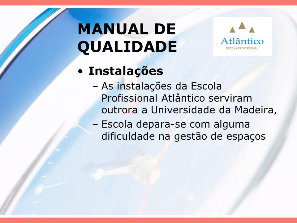 MANUAL DE QUALIDADE Instalações –As instalações da Escola Profissional Atlântico serviram outrora a Universidade da Madeira, –Escola depara-se com alg