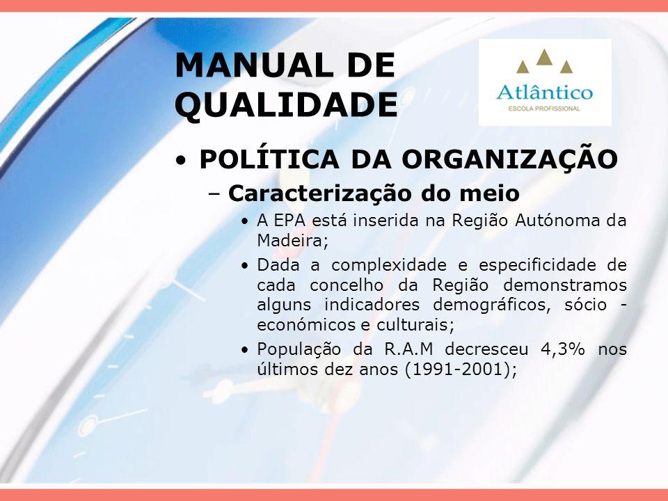 MANUAL DE QUALIDADE POLÍTICA DA ORGANIZAÇÃO –Caracterização do meio A EPA está inserida na Região Autónoma da Madeira; Dada a complexidade e especific