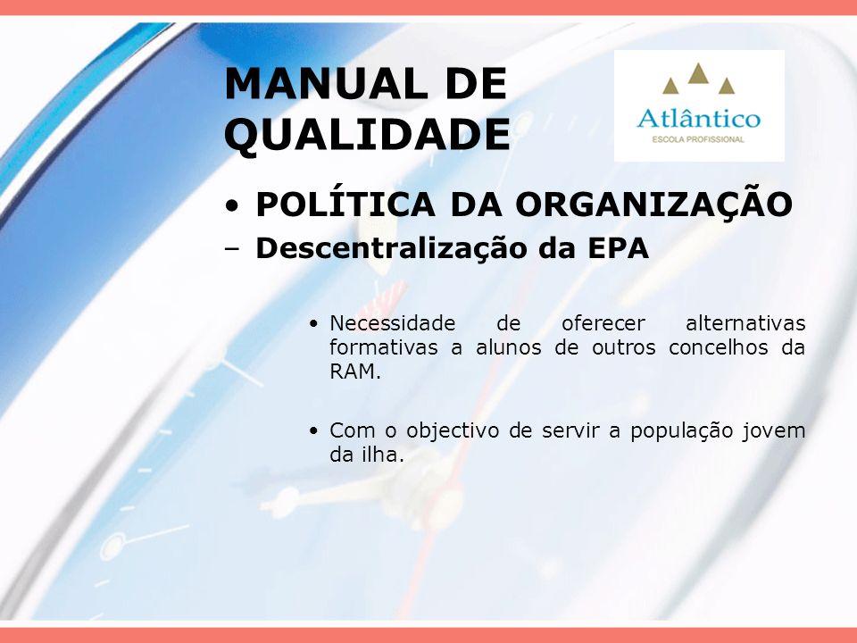 MANUAL DE QUALIDADE POLÍTICA DA ORGANIZAÇÃO –Descentralização da EPA Necessidade de oferecer alternativas formativas a alunos de outros concelhos da R