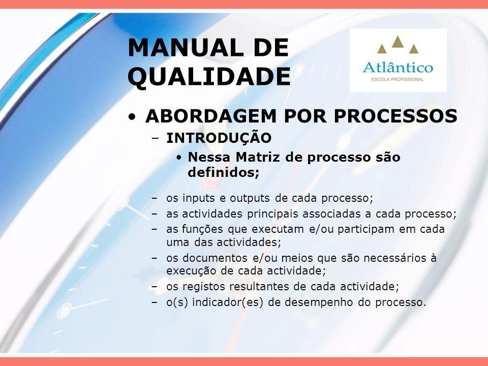 MANUAL DE QUALIDADE ABORDAGEM POR PROCESSOS –INTRODUÇÃO Nessa Matriz de processo são definidos; –os inputs e outputs de cada processo; –as actividades