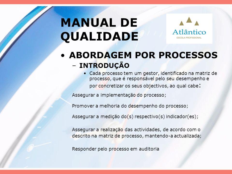 MANUAL DE QUALIDADE ABORDAGEM POR PROCESSOS –INTRODUÇÃO Cada processo tem um gestor, identificado na matriz de processo, que é responsável pelo seu de
