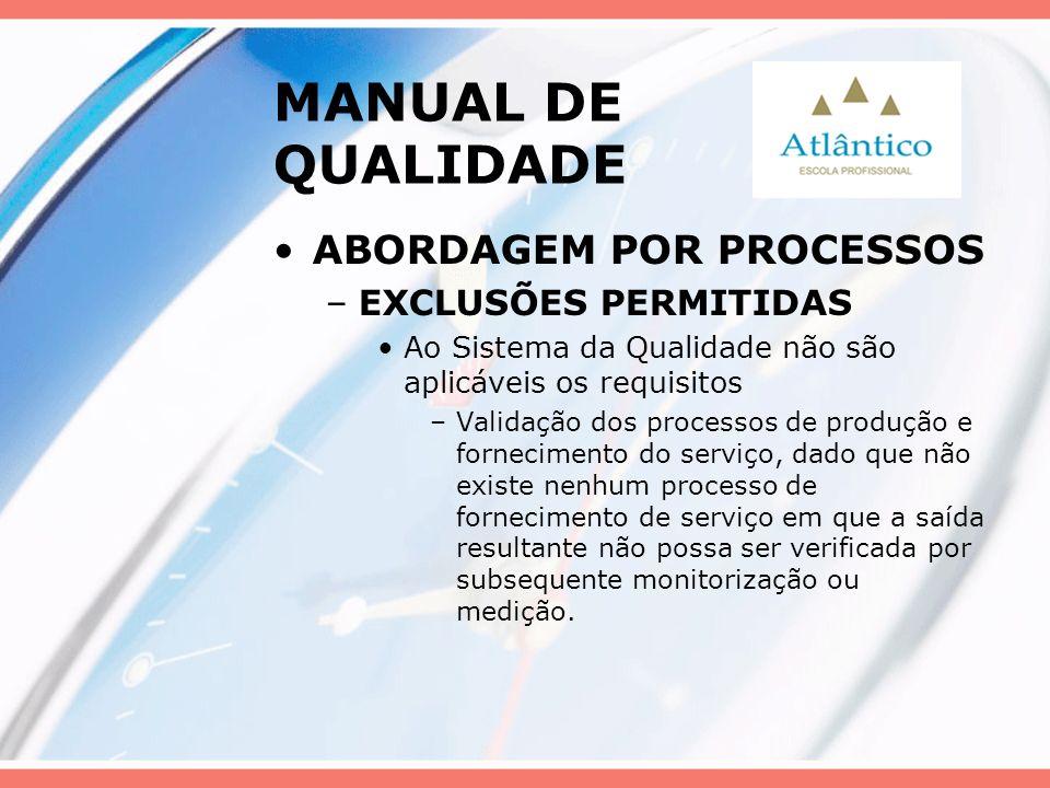 MANUAL DE QUALIDADE ABORDAGEM POR PROCESSOS –EXCLUSÕES PERMITIDAS Ao Sistema da Qualidade não são aplicáveis os requisitos –Validação dos processos de