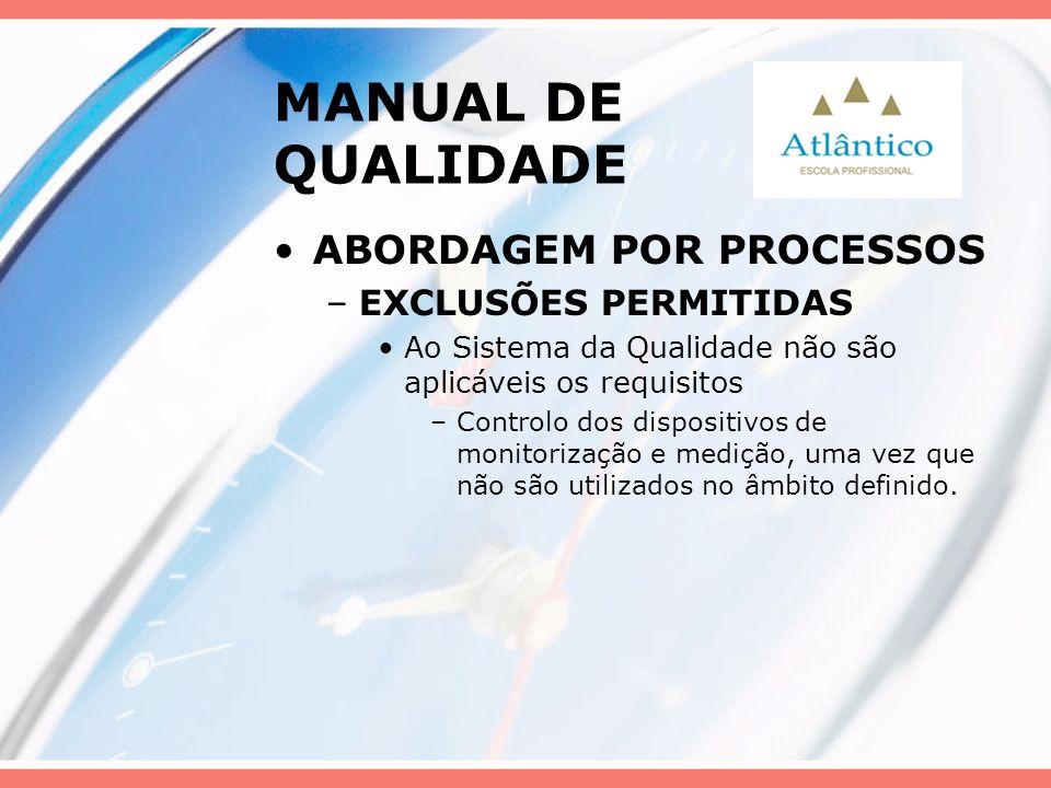 MANUAL DE QUALIDADE ABORDAGEM POR PROCESSOS –EXCLUSÕES PERMITIDAS Ao Sistema da Qualidade não são aplicáveis os requisitos –Controlo dos dispositivos