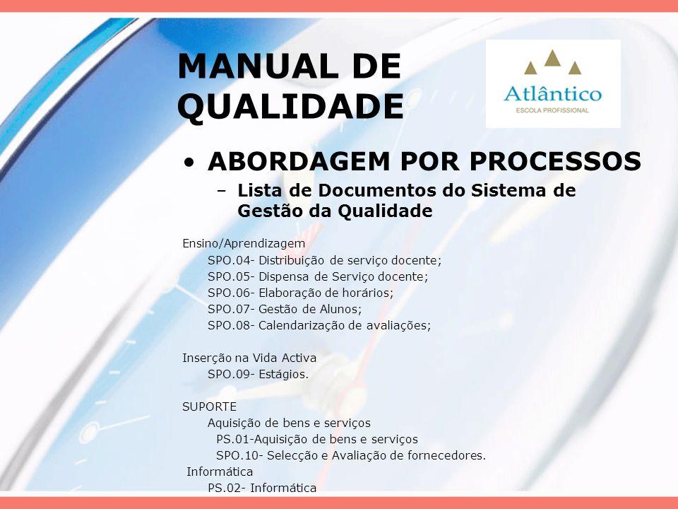 MANUAL DE QUALIDADE ABORDAGEM POR PROCESSOS –Lista de Documentos do Sistema de Gestão da Qualidade Ensino/Aprendizagem SPO.04- Distribuição de serviço