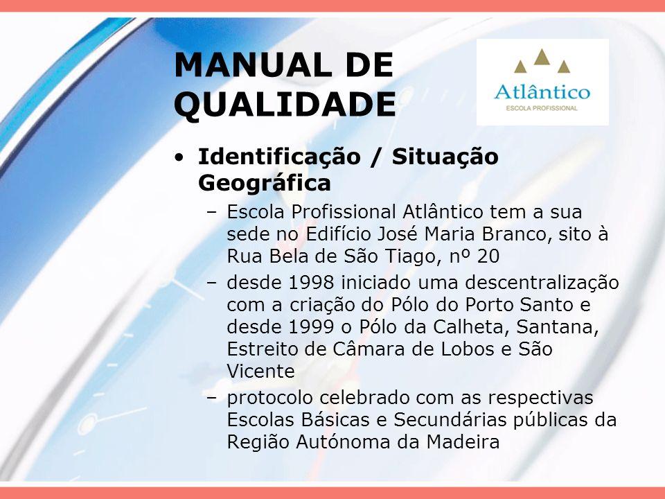 MANUAL DE QUALIDADE Identificação / Situação Geográfica –Escola Profissional Atlântico tem a sua sede no Edifício José Maria Branco, sito à Rua Bela d