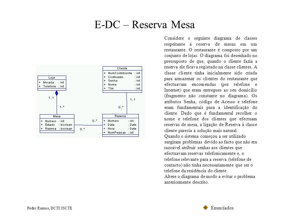 Enunciados Pedro Ramos, DCTI/ISCTE E-DC – Reserva Mesa Considere o seguinte diagrama de classes respeitante à reserva de mesas em um restaurante. O re