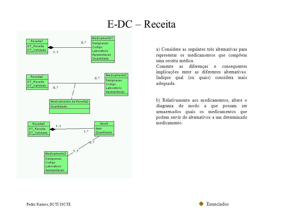 Enunciados Pedro Ramos, DCTI/ISCTE E-DC – Receita a) Considere as seguintes três alternativas para representar os medicamentos que compõem uma receita