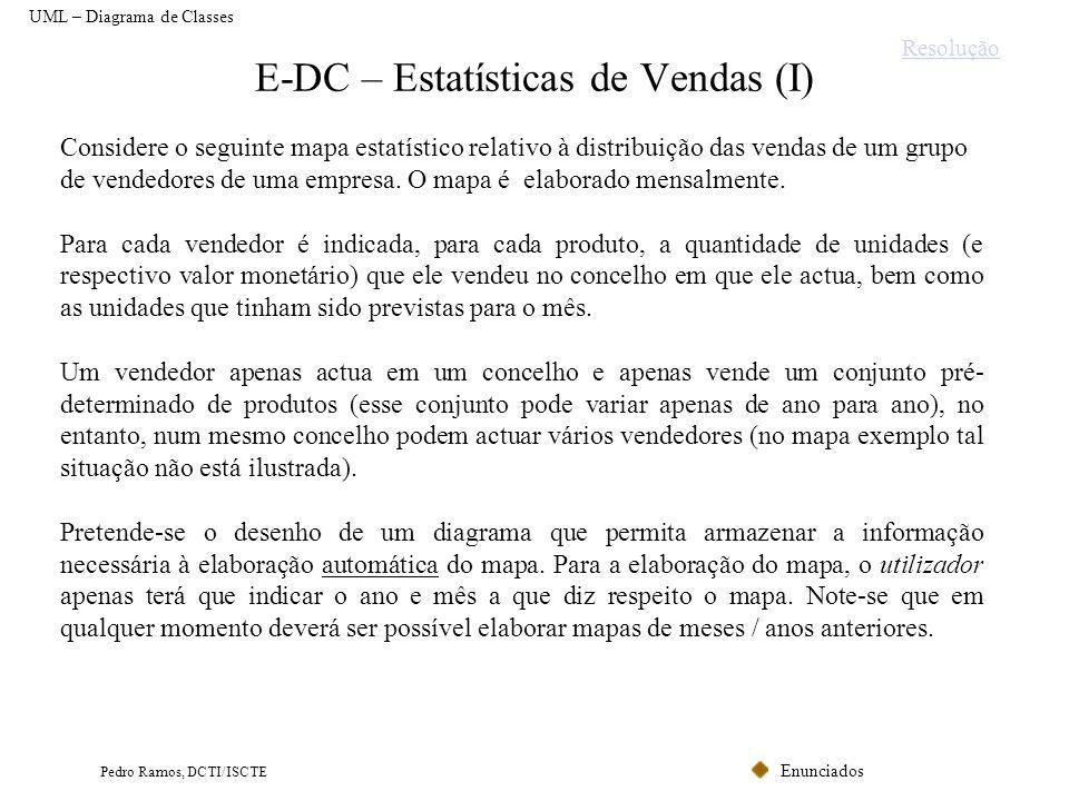 Enunciados Pedro Ramos, DCTI/ISCTE E-DC – Estatísticas de Vendas (I) UML – Diagrama de Classes Considere o seguinte mapa estatístico relativo à distri