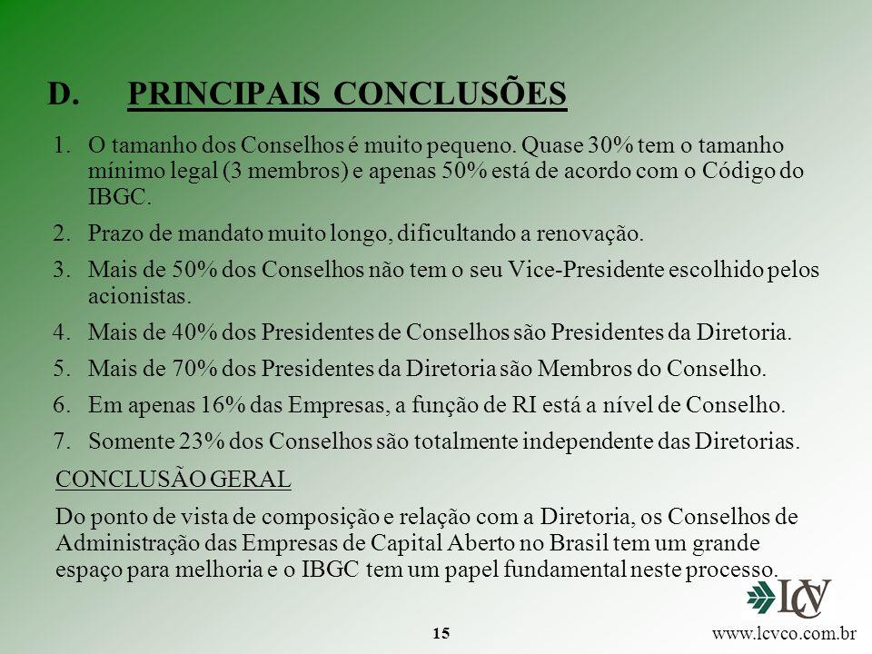 15 D.PRINCIPAIS CONCLUSÕES 1.O tamanho dos Conselhos é muito pequeno.