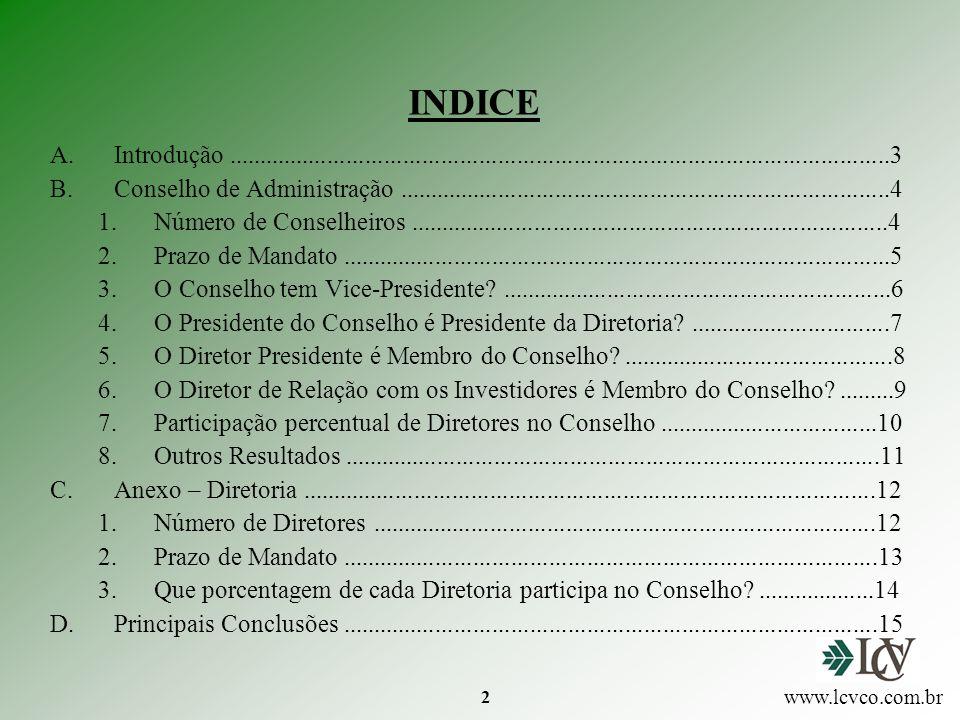3 A.INTRODUÇÃO Objetivo Composição dos Conselhos de Administração das Empresas de Capital Aberto no Brasil Alguns aspectos do relacionamento do Conselho de Administração com a Diretoria Executiva Universo 585 Cias.