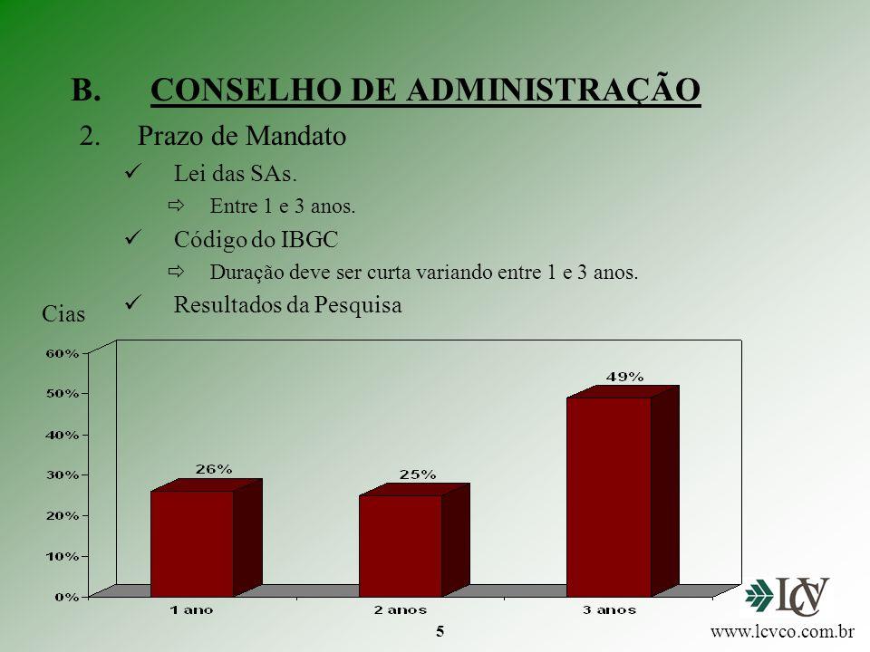 5 B.CONSELHO DE ADMINISTRAÇÃO 2.Prazo de Mandato Lei das SAs.