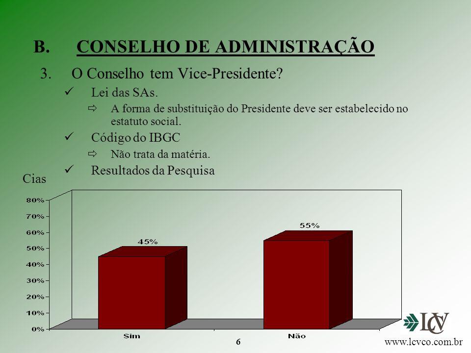 7 B.CONSELHO DE ADMINISTRAÇÃO 4.O Presidente do Conselho é Presidente da Diretoria.
