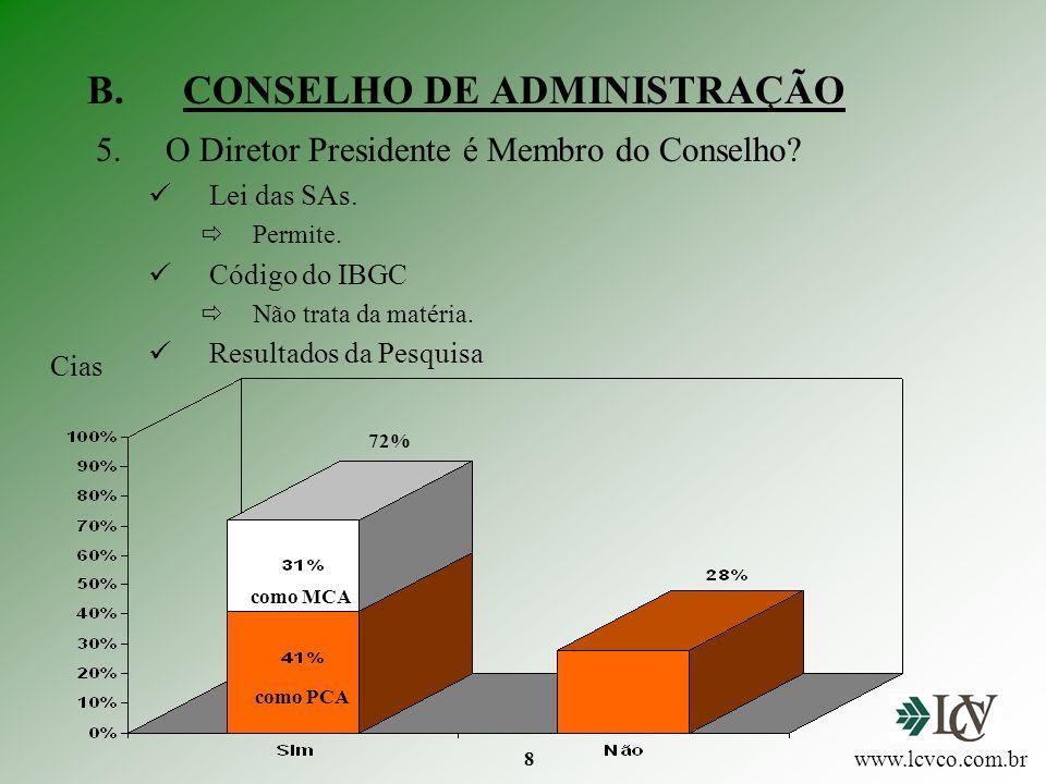 8 B.CONSELHO DE ADMINISTRAÇÃO 5.O Diretor Presidente é Membro do Conselho.