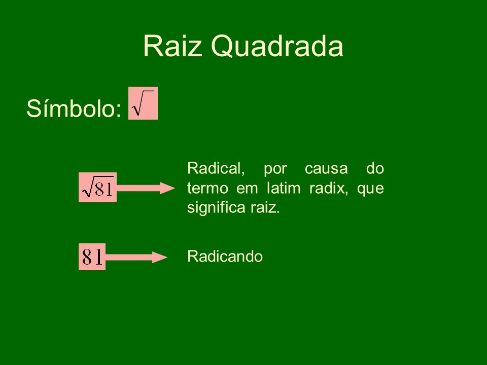 Raiz Quadrada Símbolo: Radical, por causa do termo em latim radix, que significa raiz. Radicando