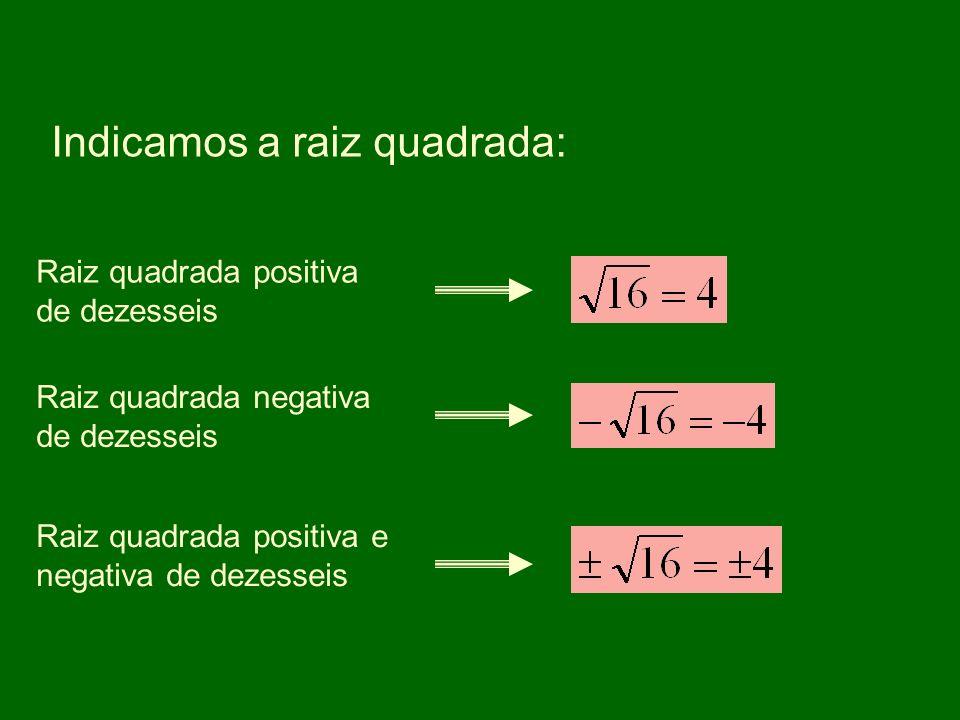 Indicamos a raiz quadrada: Raiz quadrada positiva de dezesseis Raiz quadrada negativa de dezesseis Raiz quadrada positiva e negativa de dezesseis