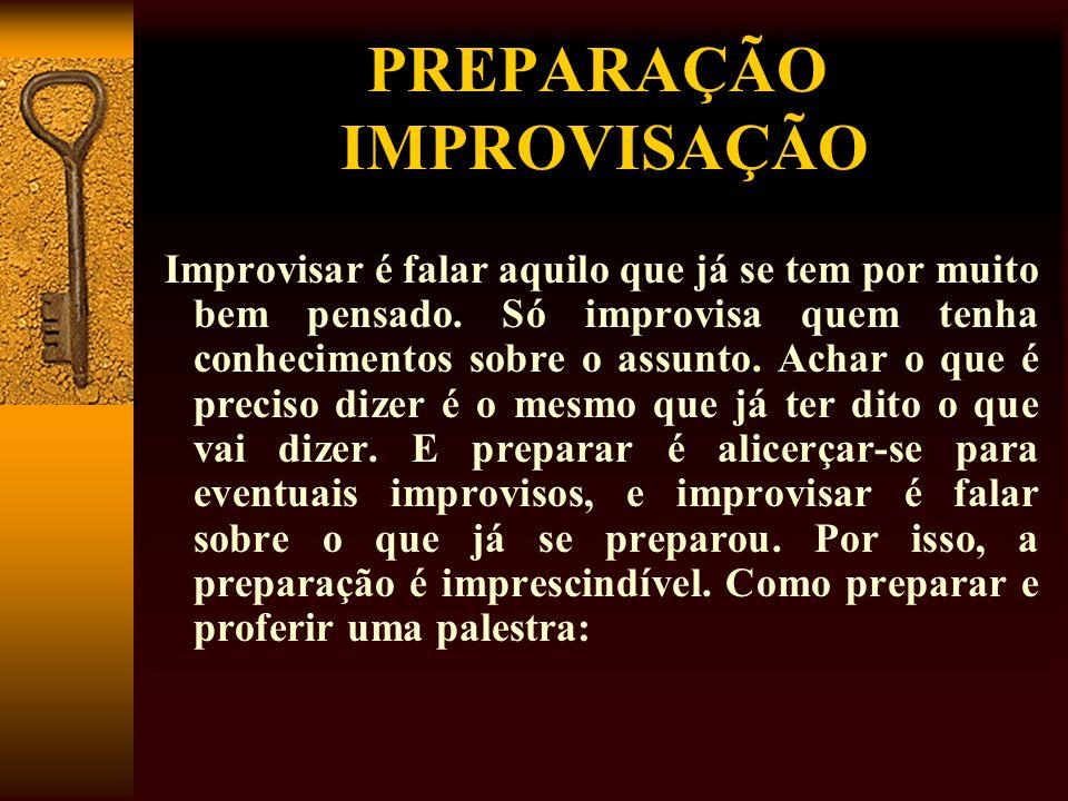PREPARAÇÃO IMPROVISAÇÃO Improvisar é falar aquilo que já se tem por muito bem pensado. Só improvisa quem tenha conhecimentos sobre o assunto. Achar o