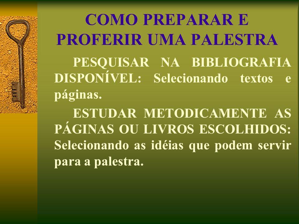 COMO PREPARAR E PROFERIR UMA PALESTRA PESQUISAR NA BIBLIOGRAFIA DISPONÍVEL: Selecionando textos e páginas. ESTUDAR METODICAMENTE AS PÁGINAS OU LIVROS