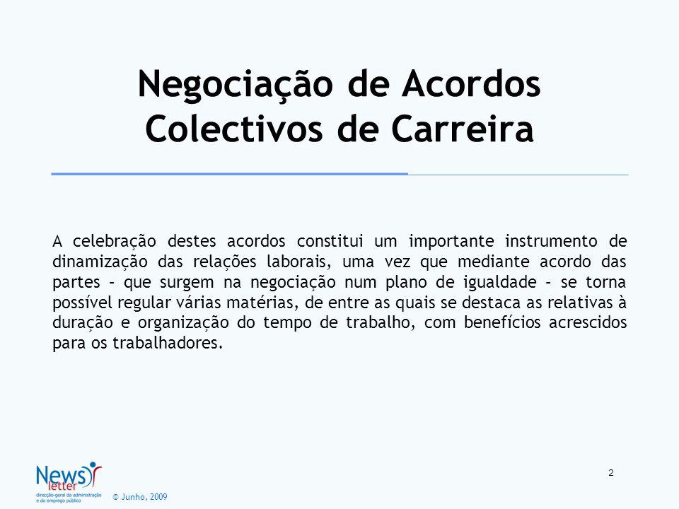 © Junho, 2009 A celebração destes acordos constitui um importante instrumento de dinamização das relações laborais, uma vez que mediante acordo das pa