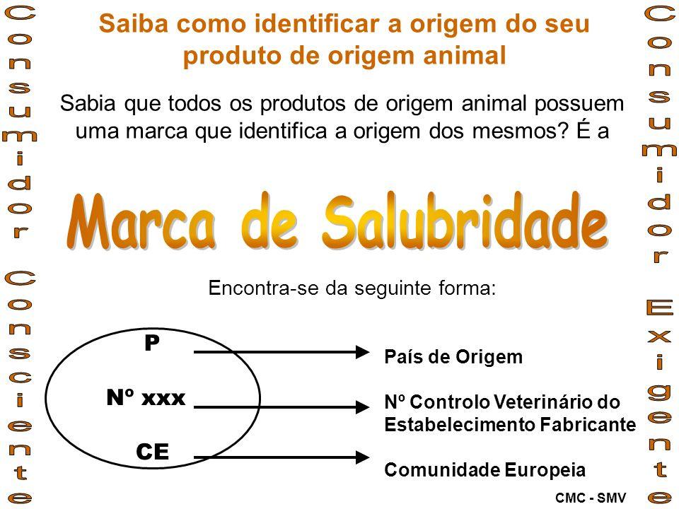 Deve ser colocada: 1.em todos os produtos de origem animal; 2.de forma facilmente visível e legível.