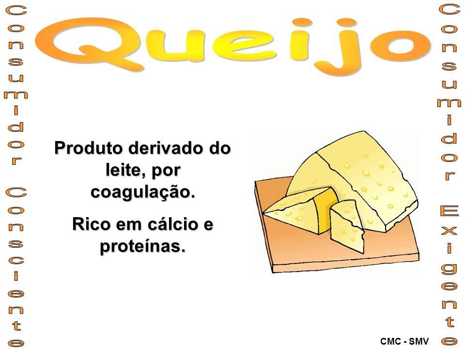 Produto derivado do leite, por coagulação. Rico em cálcio e proteínas. CMC - SMV