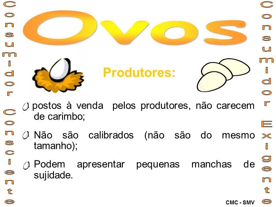 Produtores: postos à venda pelos produtores, não carecem de carimbo; Não são calibrados (não são do mesmo tamanho); Podem apresentar pequenas manchas