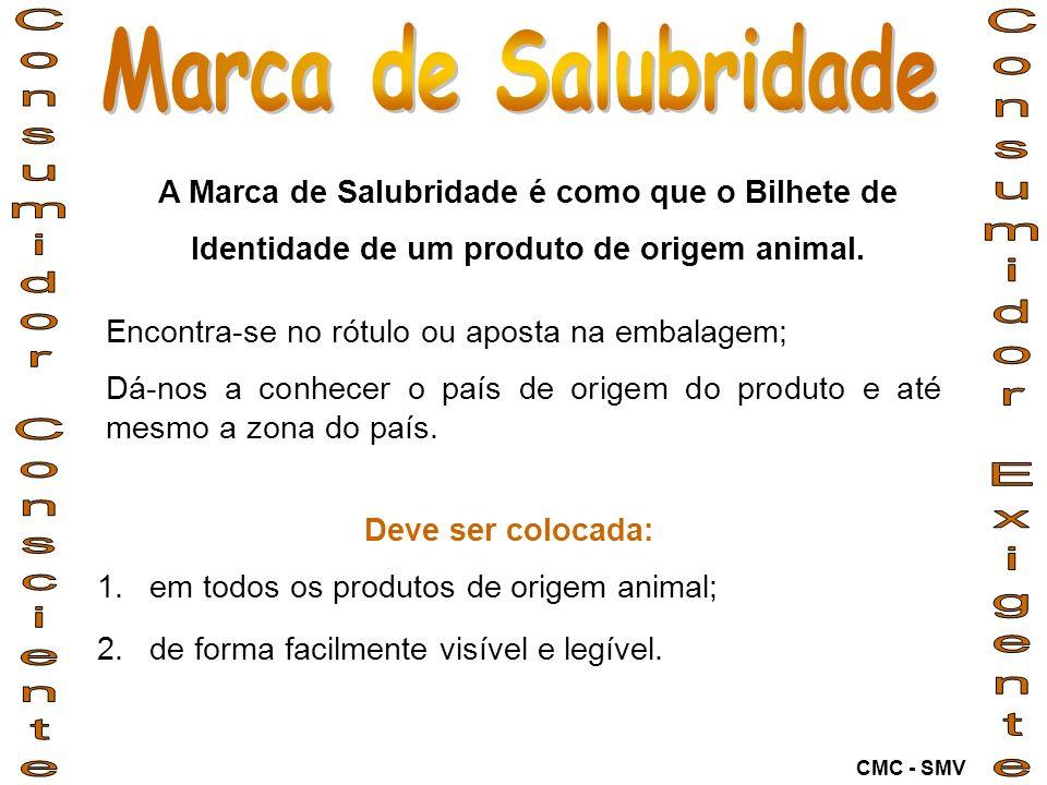 Deve ser colocada: 1.em todos os produtos de origem animal; 2.de forma facilmente visível e legível. A Marca de Salubridade é como que o Bilhete de Id
