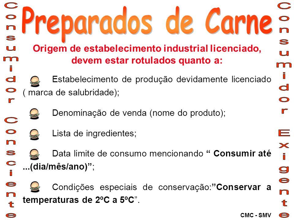 Origem de estabelecimento industrial licenciado, devem estar rotulados quanto a: Estabelecimento de produção devidamente licenciado ( marca de salubri