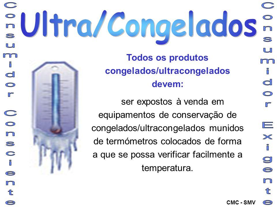Todos os produtos congelados/ultracongelados devem: ser expostos à venda em equipamentos de conservação de congelados/ultracongelados munidos de termó