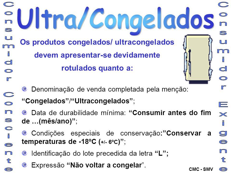 Denominação de venda completada pela menção: Congelados/Ultracongelados; Data de durabilidade mínima: Consumir antes do fim de …(mês/ano); Condições e
