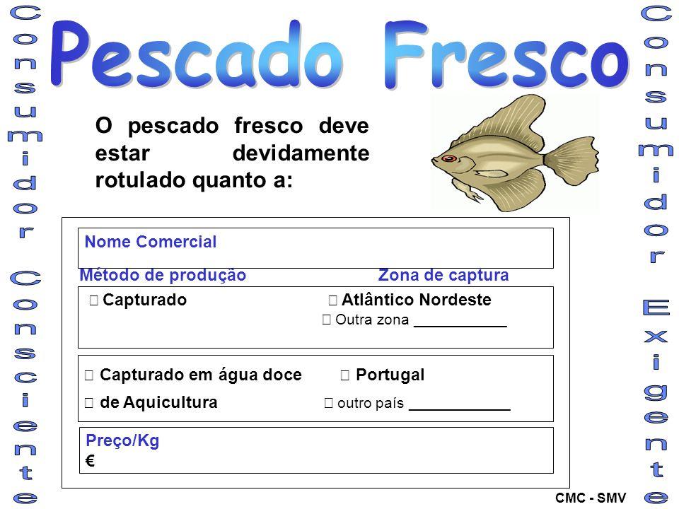 O pescado fresco deve estar devidamente rotulado quanto a: Capturado Atlântico Nordeste Outra zona ___________ Capturado em água doce Portugal de Aqui