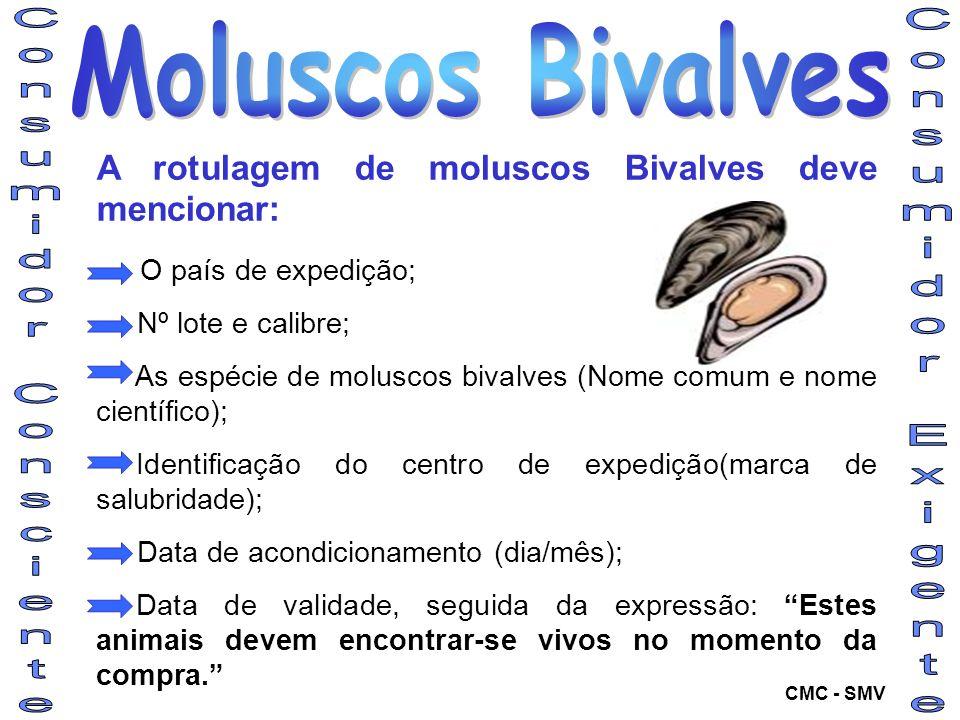 A rotulagem de moluscos Bivalves deve mencionar: O país de expedição; Nº lote e calibre; As espécie de moluscos bivalves (Nome comum e nome científico