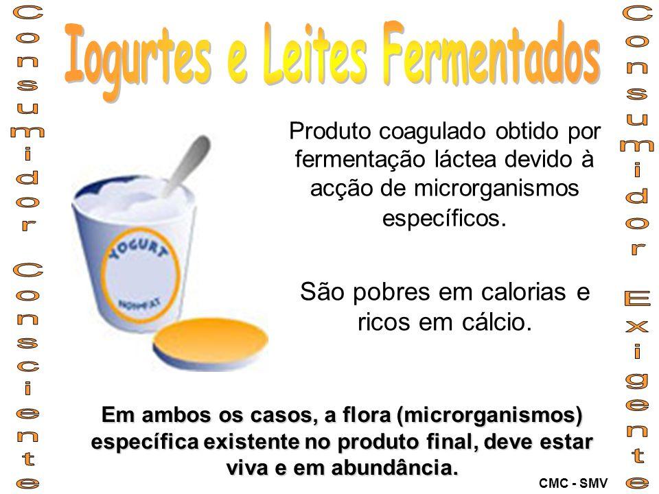 Produto coagulado obtido por fermentação láctea devido à acção de microrganismos específicos. São pobres em calorias e ricos em cálcio. Em ambos os ca