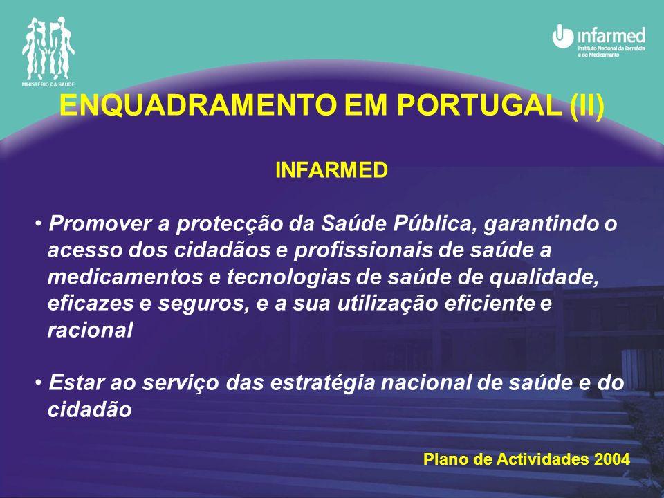 ENQUADRAMENTO EM PORTUGAL (II) INFARMED Promover a protecção da Saúde Pública, garantindo o acesso dos cidadãos e profissionais de saúde a medicamentos e tecnologias de saúde de qualidade, eficazes e seguros, e a sua utilização eficiente e racional Estar ao serviço das estratégia nacional de saúde e do cidadão Plano de Actividades 2004