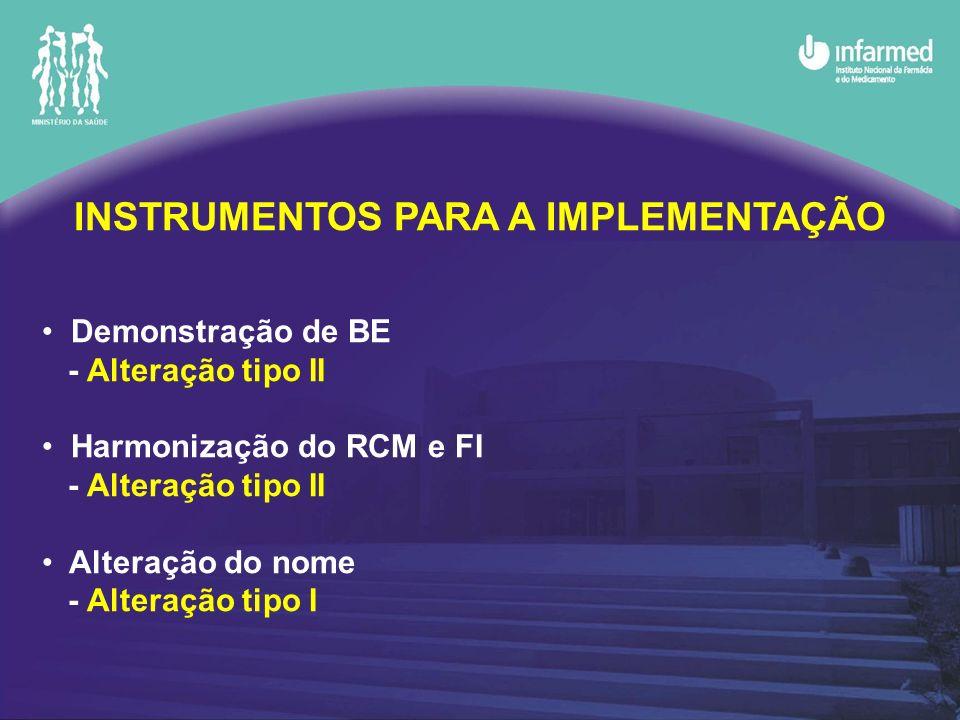 INSTRUMENTOS PARA A IMPLEMENTAÇÃO Demonstração de BE - Alteração tipo II Harmonização do RCM e FI - Alteração tipo II Alteração do nome - Alteração tipo I