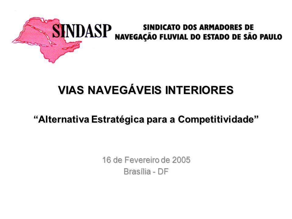VIAS NAVEGÁVEIS INTERIORES Alternativa Estratégica para a Competitividade 16 de Fevereiro de 2005 Brasília - DF